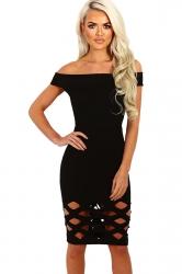 Womens Off Shoulder Cut Out Plain Bandage Midi Dress Black