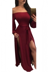 Womens Off Shoulder Long Sleeve Front Slit Maxi Clubwear Dress Ruby