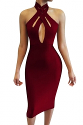 Womens Cutout Bandage Halter Plain Midi Clubwear Dress Ruby