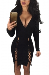 Womens Deep V-neck Sides Lace-up Long Sleeve Clubwear Dress Black