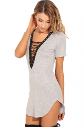 Womens Lace-up V Neck Short Sleeve Asymmetric Shirt Dress Light Gray