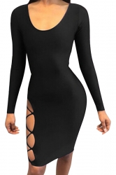 Womens Long Sleeve Backless Lace-up Cut Out Clubwear Dress Black