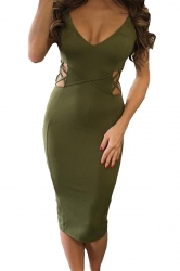 Womens Crisscross Cutout Detail Back Slit Midi Dress Green