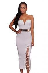 Womens Sexy Strapless V-neck Side Slits Tube Dress White
