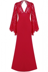 Womens Deep V Neck Lace Flare Sleeve Maxi Evening Dress Red