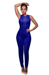 Womens Lace-up Hollow Out Zipper Back Jumpsuit Sapphire Blue