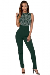 Womens Rhinestone High Waist Sleeveless Jumpsuit Green