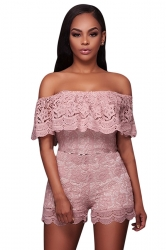 Womens Off Shoulder Ruffled Lace High Waist Romper Pink