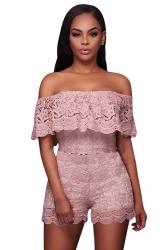Womens Off Shoulder Ruffled Lace High Waist Romper Pink