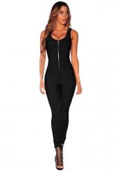 Womens Zipper Front Sleeveless High Waist Plain Catsuit Black