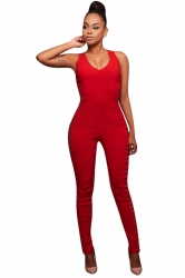 Womens Keyhole Crisscross Lace-up Sides Sleeveless Jumpsuit Red