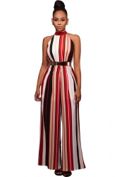 Womens Sleeveless High Waist Striped Palazzo Jumpsuit Red