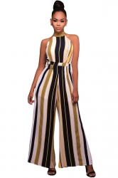 Womens Sleeveless High Waist Striped Palazzo Jumpsuit Yellow