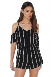 Womens V-neck Cold Shoulder Striped Printed Romper Black