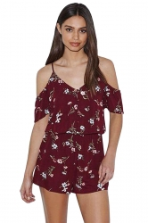 Womens V-neck Cold Shoulder Floral Printed Romper Ruby