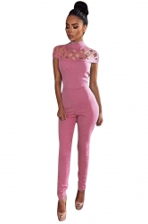 Womens Mock Neck Cut Out Short Sleeve High Waist Jumpsuit Pink