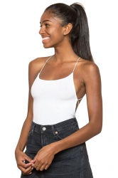 Womens Sexy Cross Straps Backless Bodysuit White