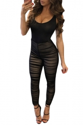 Womens Patchwork High Waist Fitting Pleated Jumpsuit Black