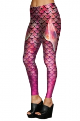 Womens Stretchy Digital Mermaid Fish Scale Printed Leggings Purple