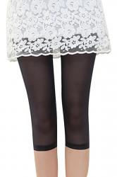 Womens High Waist Mesh Stretchy Thin Plain Capri Leggings Black