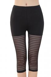 Womens High Waist Mesh Stretchy Thin Striped Capri Leggings Black