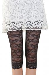 Womens High Waist Lace Stretchy Thin Plain Capri Leggings Black