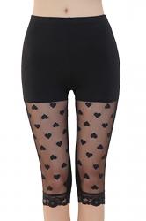Womens High Waist Stretchy Thin Heart Patterned Capri Leggings Black