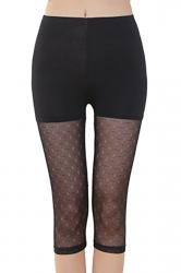 Womens High Waist Mesh Stretchy Thin Patterned Capri Leggings Black