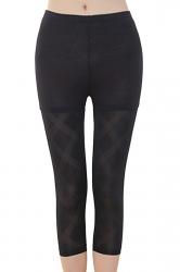Womens High Waist Mesh Stretchy Thin Plaid Capri Leggings Black