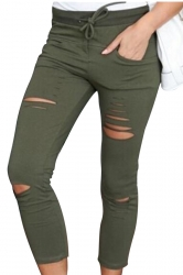Womens Drawstring Waist Plain Ripped Pencil Leggings Army Green