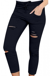 Womens Drawstring Waist Plain Ripped Pencil Leggings Black