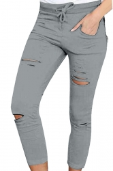 Womens Drawstring Waist Plain Ripped Pencil Leggings Gray
