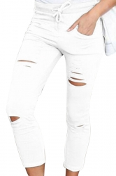 Womens Drawstring Waist Plain Ripped Pencil Leggings White