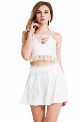 Womens Cross Cutout Lace Trim Tassel Top&Shorts Suit White