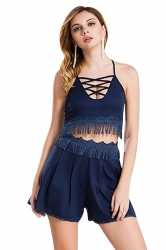 Womens Cross Cutout Lace Trim Tassel Top&Shorts Suit Navy Blue