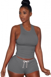 Womens Plain Tank Top Drawstring Waist Shorts Sports Suit Gray