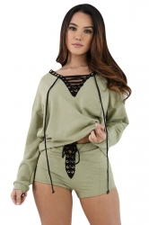 Womens V-neck Cross String Long Sleeve Top&Short Pants Set Green