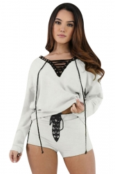 Womens V-neck Cross String Long Sleeve Top&Short Pants Set White