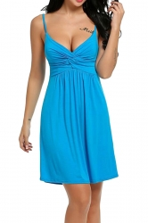 Womens Sexy Straps Knitting Pleated Sleepwear Blue