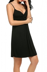 Womens Sexy Straps Knitting Pleated Sleepwear Black