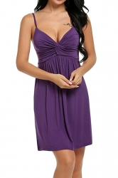 Womens Sexy Straps Knitting Pleated Sleepwear Purple