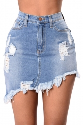 Womens High Waist Irregular Ripped Denim Skirt Blue