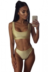 Womens Plain Sports Style 2pcs Tankini Set Gold