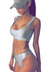 Womens Plain Sports Style 2pcs Tankini Set Silvery
