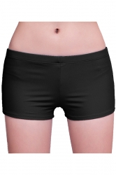 Womens Plain Sports Boy Shorts Swimsuit Bottom Black