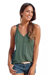 Womens V Neck Buttons Plain Loose Tank Top Green