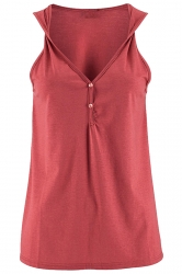 Womens V Neck Buttons Plain Loose Tank Top Watermelon Red