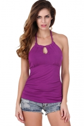 Womens Halter Backless Keyhole Strapless Plain Top Purple