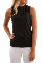 Womens V Cut Back Sleeveless Plain Simple Tank Top Black
