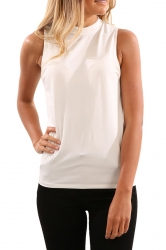 Womens V Cut Back Sleeveless Plain Simple Tank Top White
